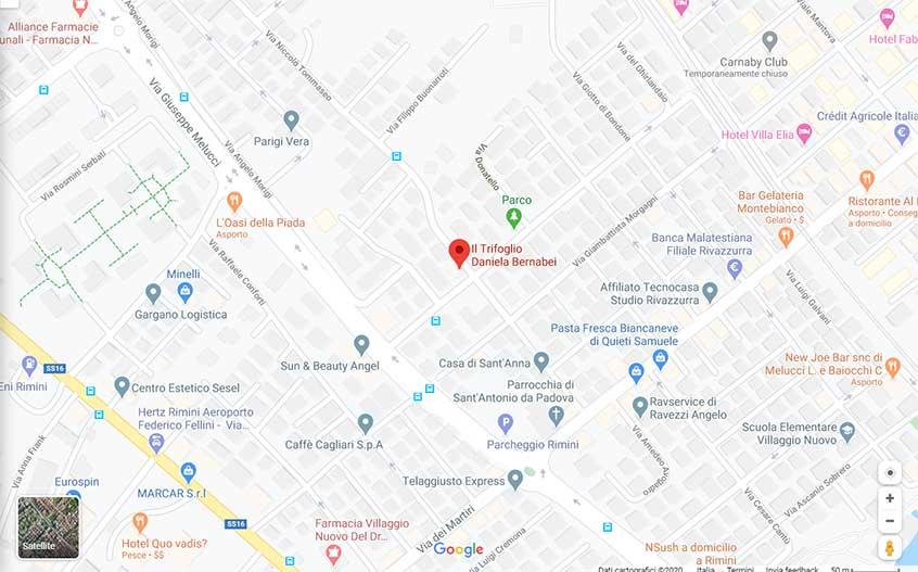 Cartina di google maps con la posizione del negozio di fiori il Trifoglio in via Niccolò Tommaseo 151 a Rimini.