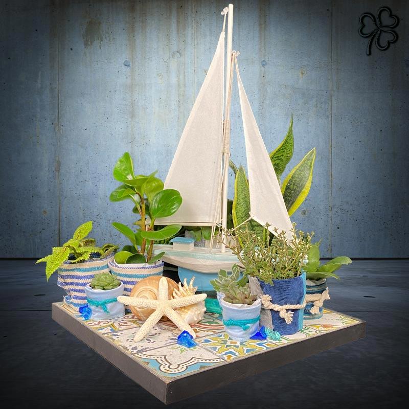 Composizioni floreali di piante tropicali e grasse