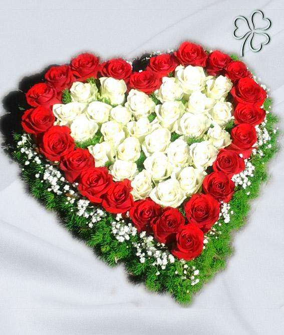 Composizione a forma di cuore con rose bianche, rose rosse, gipsofile e verde da contorno.